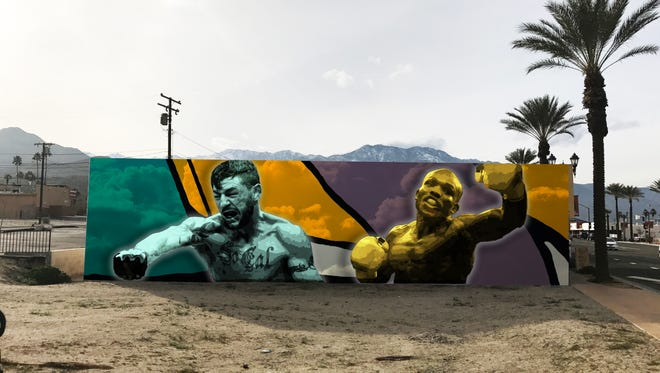 A artists rendering of what the mural on Highway 111 in Cathedral City will look like when finished.