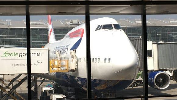 A British Airways Boeing 747 sits at London Heathrow