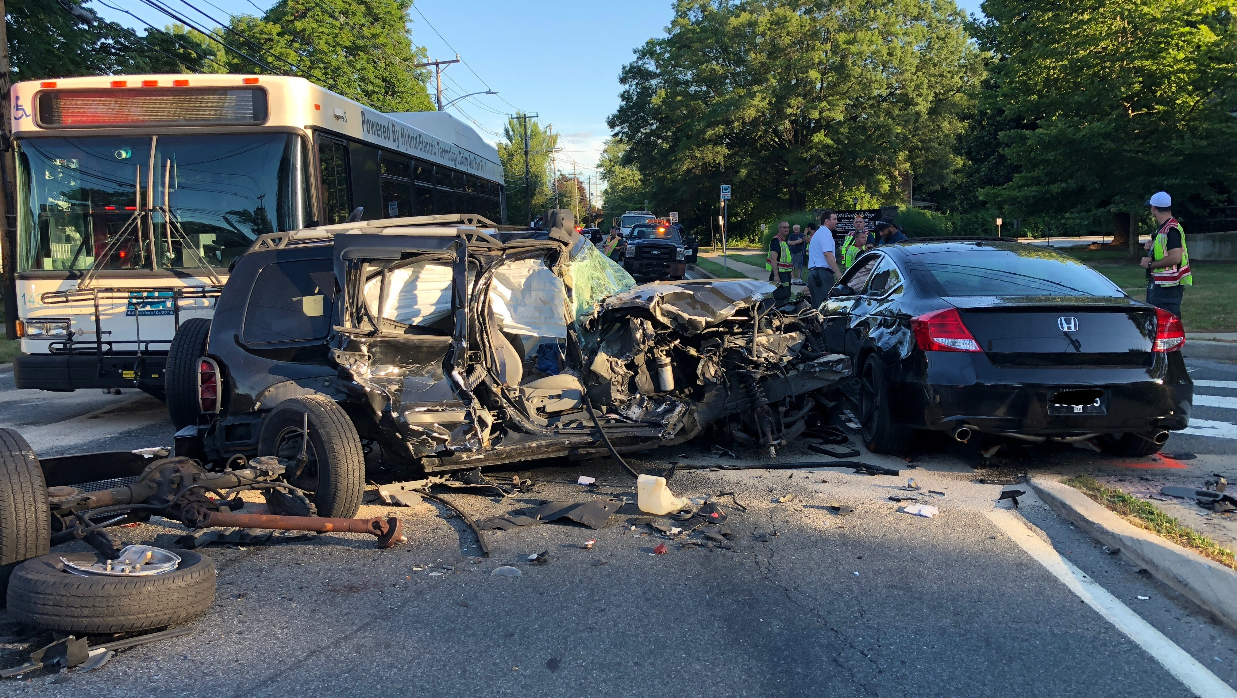 in newark  suv strikes dart bus  two cars in police chase
