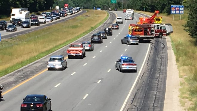 Two northbound lanes of Interstate 71 are shut down after a crash Sunday afternoon.