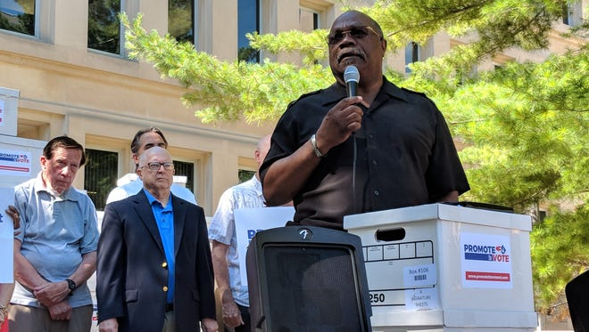 Rev. Wendell Anthony of the Detroit NAACP speaks at a Promote the Vote event in Lansing.