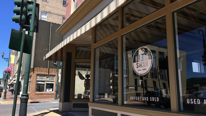 Black Swan Books and Music located at the corner of Augusta and Beverley streets in downtown Staunton.