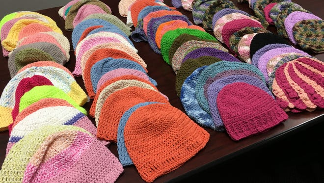 These are the 89 chemo caps I have at the office. Almost all of them are crocheted.