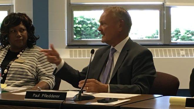 Paul Pfledderer addresses the Muncie Community School Board.