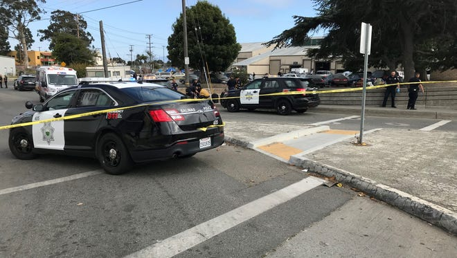 Salinas police respond to a shooting in Chinatown on Friday afternoon.