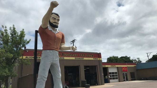 Mr Bendo at his new home, the parking lot of Automotive Brake & Exhaust, 2516 S. Minnesota Ave.