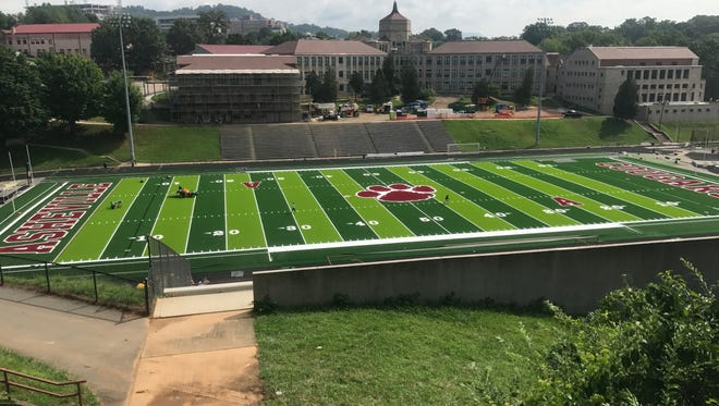 Asheville High has installed new artificial turf at Memorial Stadium.