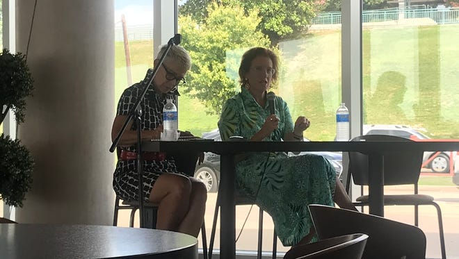 Leslie Koch (right), who led a transformation of Governors Island in the New York Bay, is interviewed by Memphis River Parks Partnership president Carol Coletta at Beale Street Landing on Tuesday, July 17, 2018, about lessons for a planned Mud Island redevelopment.