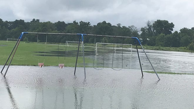 Sntiz Creek Park was flooded Monday afternoon due to heavy rains.