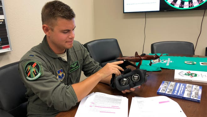 Lt. Spencer Teiken assembles a visual-technology headset that will enhance training at the 459th FTS. The new technology is set to be in full use by the end of the summer 2018.