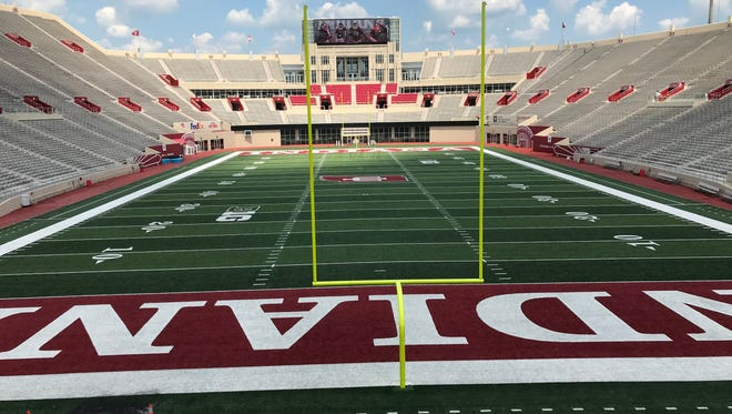 A view of the Memorial Stadium field from the Ed Sample Terrace, atop IU's new Excellence Academy. The terrace will have space for fans to gather on game days, and interactive displays and activities for children.