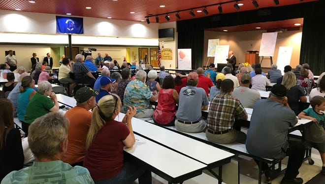 Escambia County Commissioner Jeff Bergosh speaks at a Beulah town hall on Thursday, July 26, 2018.