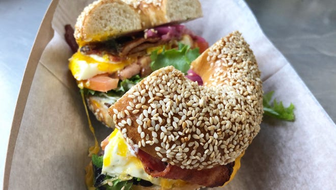 A bagel sandwich from Bare Naked Bagel, which is opening a brick-and-mortar outpost in Hillsboro Village soon.