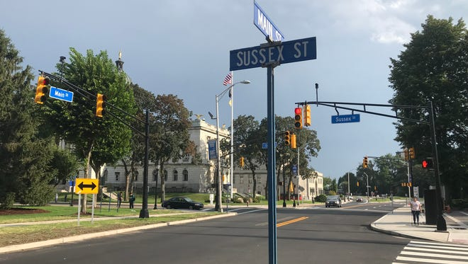 Main Street in Hackensack is now partly open to two-way traffic, from Essex to Sussex Streets, as of July 2018. The move is part of the city's ongoing efforts to revive its downtown.