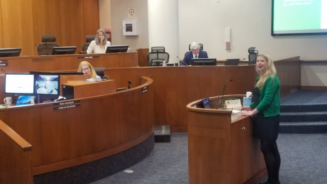 Ventura County Chief Deputy Agricultural Officer Korinne Bell presents the 2017 Ventura County Crop & Livestock Report to the Ventura County Board of Supervisors Tuesday morning. The county's agricultural industry saw a decline in gross value from 2016 to 2017.
