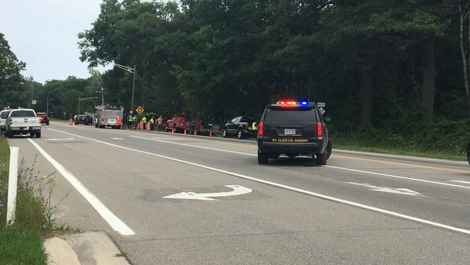 A construction worker struck by a vehicle on M-25 on Tuesday remains in critical condition.