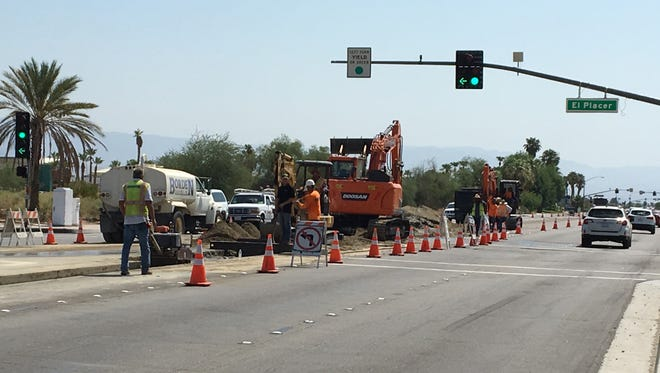 A Desert Water Agency pipeline replacement project continues on Ramon Road in Palm Springs. Work continues even as classes begin on Wednesday at nearby schools.