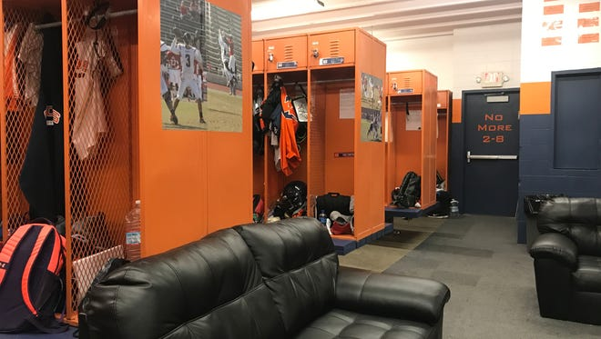 The College of the Sequoias' football team locker room was renovated in the offseason.