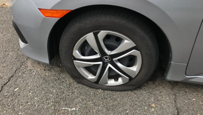 Tires were slashed on approximately 80 vehicles in Manville early Wednesday morning, the third such act of vandalism in the borough in less than two months.