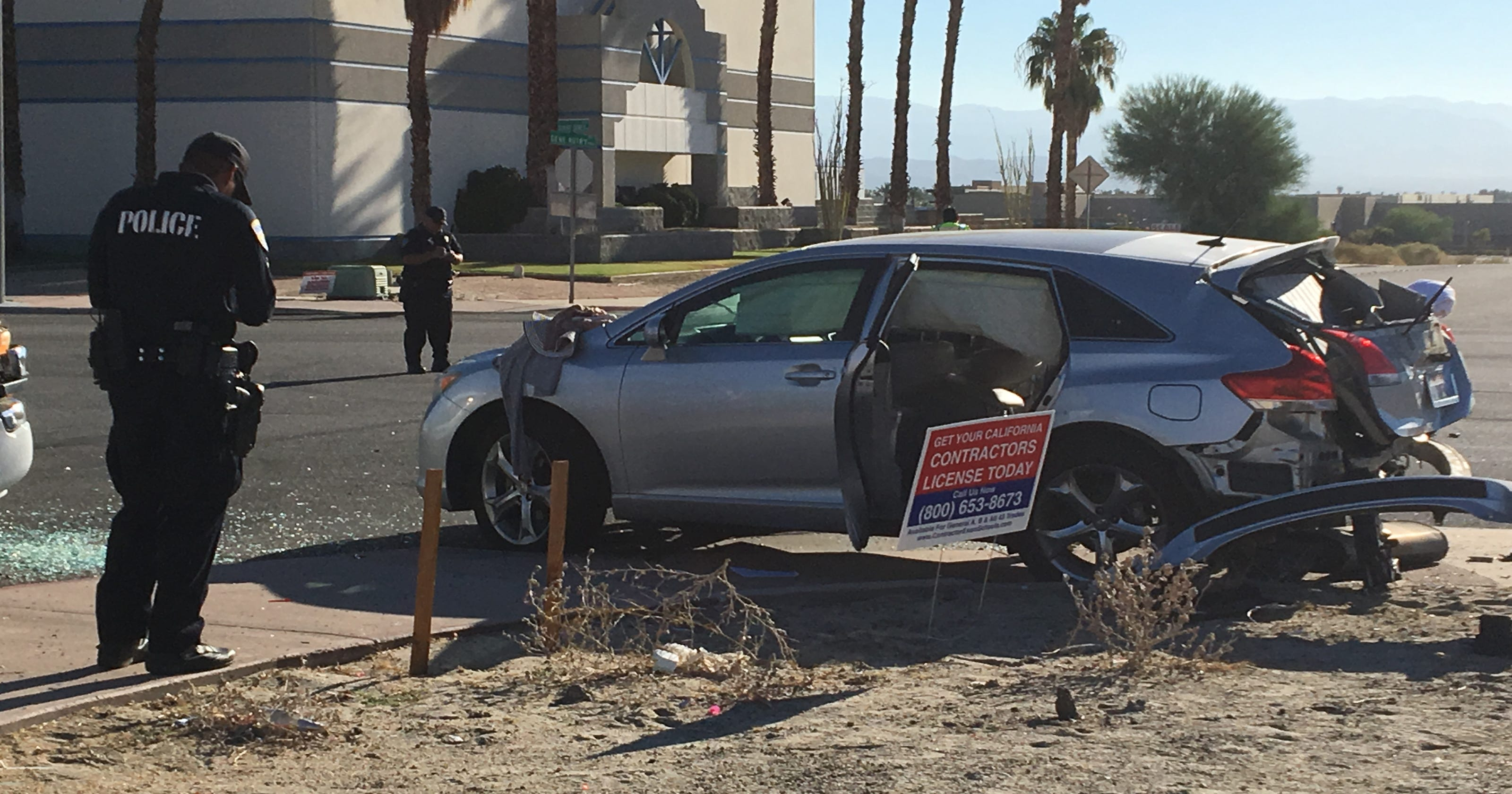 Palm Springs Collision On Gene Autry Seriously Injures Child Pedestrian Extinguishes Car Fire
