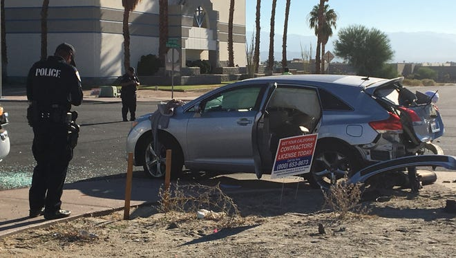 A child in this Toyota suffered major injuries in a multi-vehicle collision at Gene Autry Trail and Sunny Dunes Road in Palm Springs Wednesday morning.