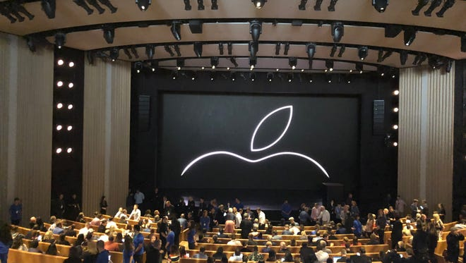 Apple hosts a press event in the Steve Jobs Theater at Apple Park in Cupertino, California.