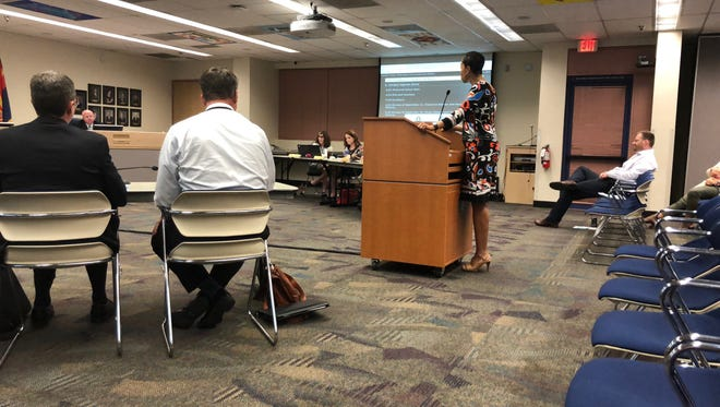 Black Mothers Forum founder Janelle Wood asked the Kyrene School District Governing Board to act on community members' requests regarding minority students at a meeting on Oct. 2, 2018, in Tempe, Arizona.