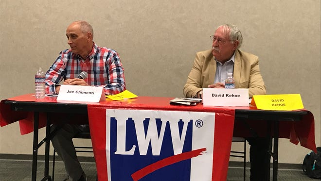 Challenger Joe Chimenti, left, and incumbent Shasta County District 1 supervisor David Kehoe debated Wednesday at the Redding Library.