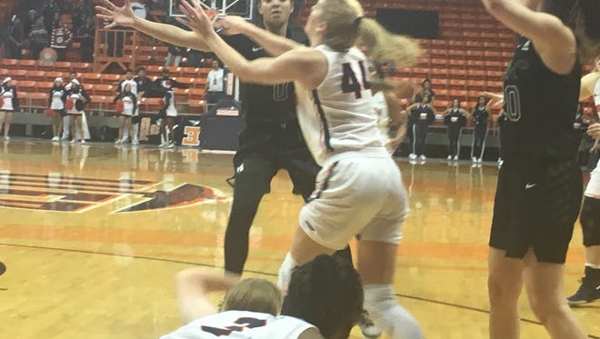 Katarina Zec fights for the ball during UTEP's game against Portland State on Sunday in the Don Haskins Center.