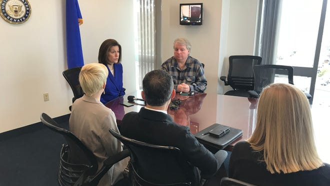 U.S. Sen. Catherine Cortez Masto, D-Nev., chats with furloughed federal workers at a Friday roundtable in Reno.