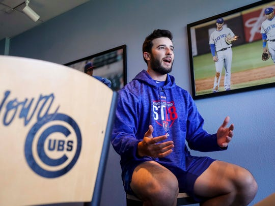 Iowa Cubs' pitcher Dillon Maples talks during media day Wednesday, April 4, 2018, at Principal Park before their season opener.