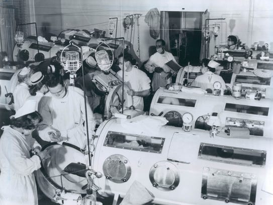 An Iron lung ward for Polio Victims. Dr.Jonas Salk.