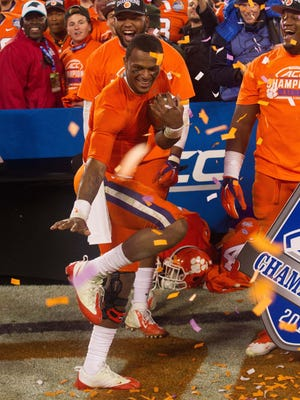 Clemson quarterback Deshaun Watson does the Heisman pose after the Tigers won the ACC title.