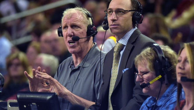 Jan 14, 2015; Los Angeles; Broadcasters Bill Walton (left) and Dave Pasch work a basketball game between the  UCLA Bruins and the USC Trojans at Galen Center.