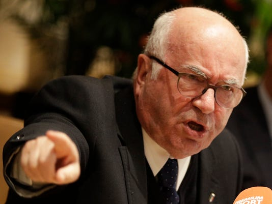 Italian football federation president Carlo Tavecchio gives a press conference at the federation headquarters in Rome, Monday, Nov. 20, 2017. Tavecchio has resigned Monday, a week after the Azzurri failed to qualify for the World Cup. (AP Photo/Andrew Medichini)
