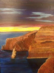 """""""Painted Rocks"""" is one of Tom Cook's painting from before his stroke."""