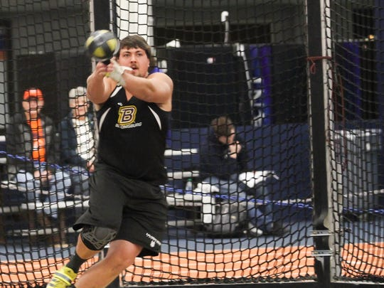 Bloomsburg senior Patrick Lehman (Spring Grove) qualified for the PSAC championships in the weight throw during the first meet of the season.