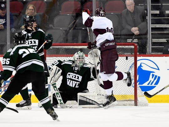 Don Bosco Prep's Tyler Sedlak scores a goal in the second period. Delbarton defeated Don Bosco Prep 4-2 in the Non-Public ice hockey state championship in Newark, NJ on Monday, March 5, 2018.