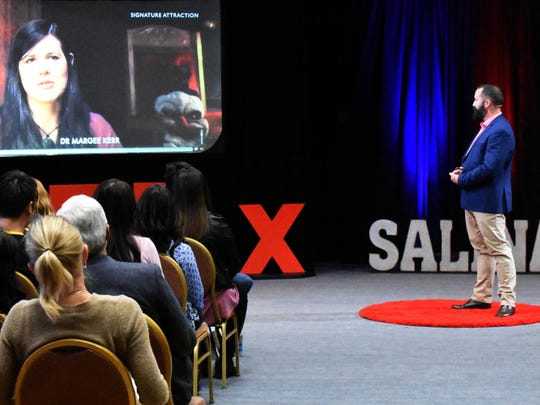 Malcom Burt speaks to the audience during the TEDx Salinas event, in Santa Lucia Ballroom at Sherwood Hall Community Center, Saturday Feb. 25th 2017, in Salinas