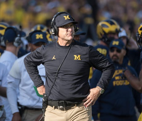 Michigan coach Jim Harbaugh makes it clear every s...