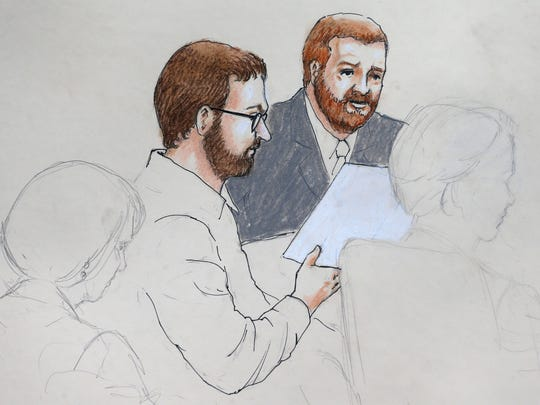 In this Monday, April 27, 2015 sketch by courtroom artist Jeff Kandyba, Aurora theater shooting defendant James Holmes, center left, and defense attorney Daniel King sit in court at the Arapahoe County Justice Center on the first day of Holmes' trial, in Centennial, Colo. Holmes acknowledges killing 12 people and wounding 70 more inside a packed movie theater in July 2012, but has pleaded not guilty by reason of insanity. (AP Photo/Jeff Kandyba)