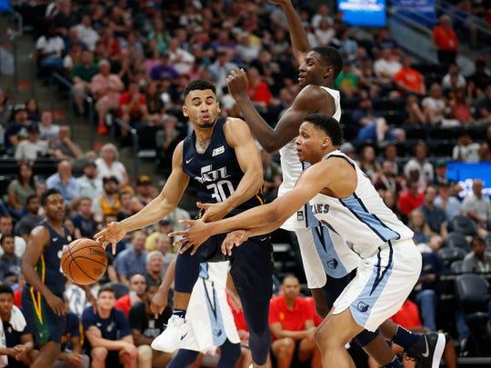Memphis Grizzlies' Jaren Jackson Jr., rear, and Ivan