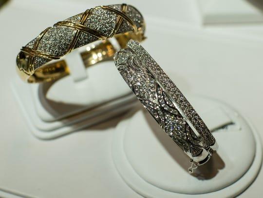 Bracelets are pictured Lafayette Jewelers in Lafayette,