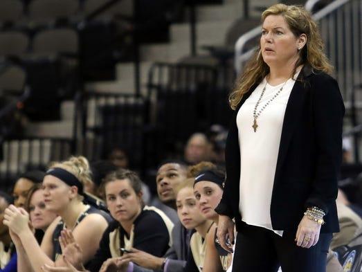 Vanderbilt coach Melanie Balcomb looks on from the