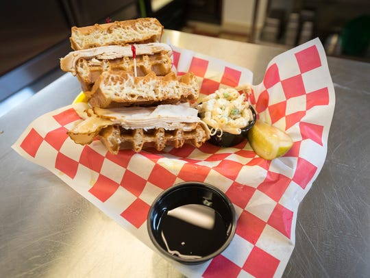 A chicken and waffle sandwich from Moe's Corner Deli