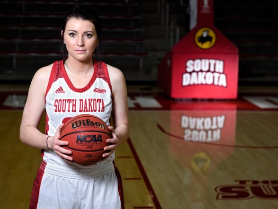 University of South Dakota guard Ciara Duffy poses for a portrait on Feb. 9, 2018 in Vermillion.