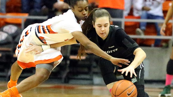 UTEP senior guard Starr Breedlove, left, attempts a steal against Charlotte's Laia Raventos Saturday.
