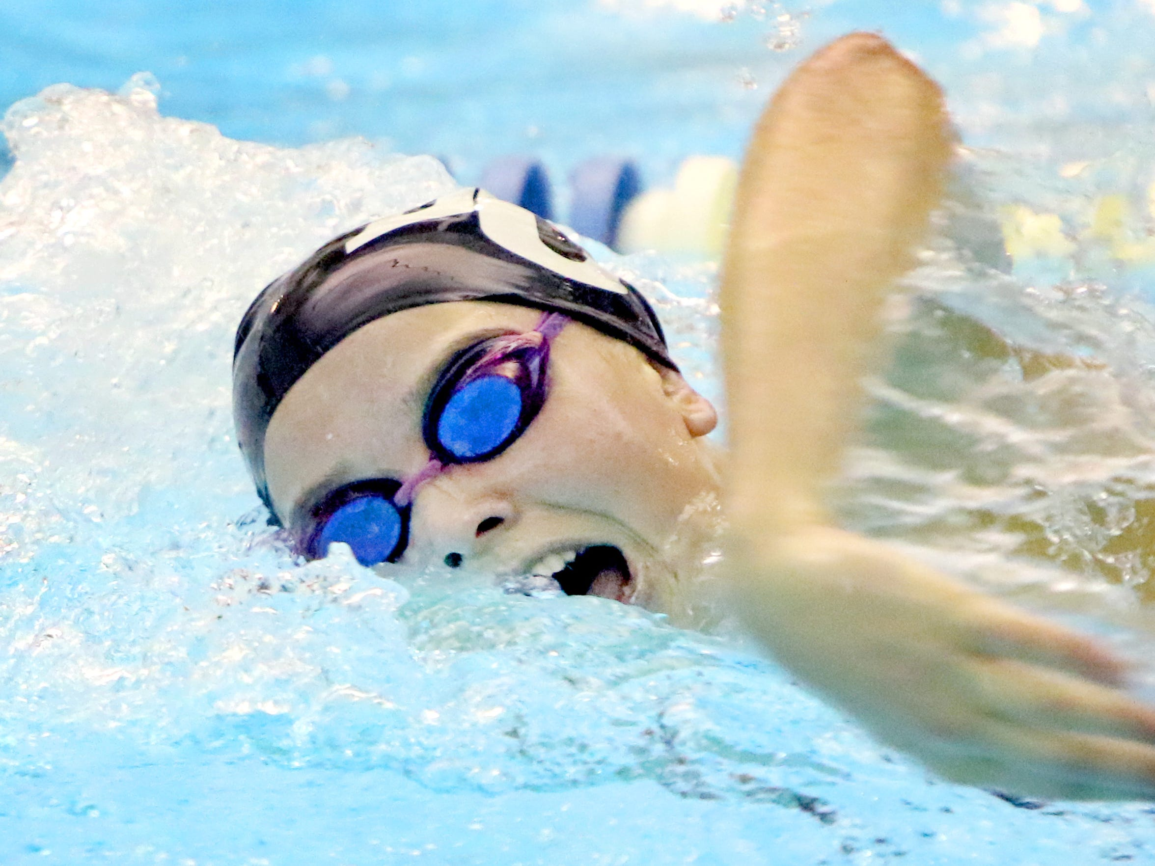 Brookfield Central's Gwen Gustafson swims the 100-yard freestyle during a dual meet at home against Brookfield East on Oct. 3. She went on to finish second in the 50-yard freestyle at the sate meet.