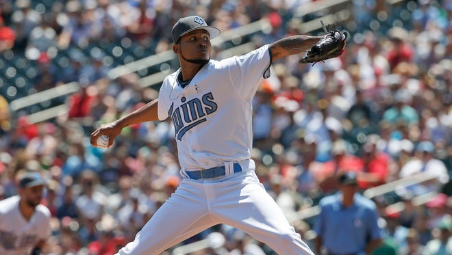 Minnesota Twins starting pitcher Ervin Santana delivers to the Minnesota Twins during the first inning of a baseball game in Minneapolis, Sunday, June 19, 2016. (AP Photo/Ann Heisenfelt)