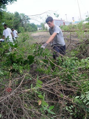 Volunteers help cut branches near Touby Run in  2011 annual Stream Cleanup.
